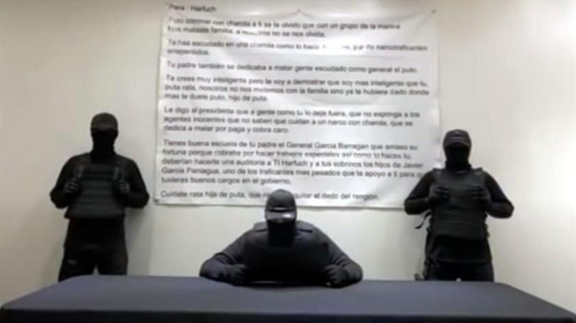 VIDEO: Encapuchados lanzan nuevas amenazas contra Omar García Harfuch(Captura de pantalla)