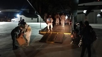 Llegan insumos médicos contra Covid-19 a Base Aérea Militar No. 18 de Hermosillo