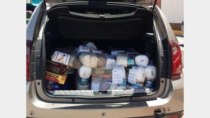 Así salen los integrantes de Unidos en un solo corazón a entregar los apoyos alimentarios.