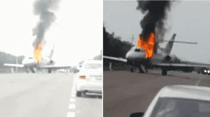 Aterriza 'narcojet' tras persecución de Marina en Quintana Roo; acaba en llamas