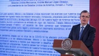 Ebrard da lectura de declaración conjunta firmada por AMLO y Trump