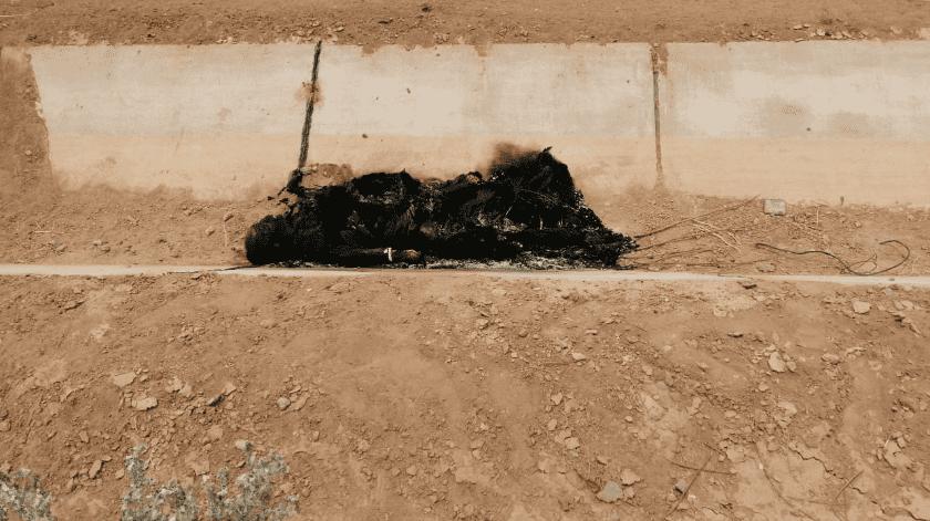 Hallan cuerpo calcinado al sur de Mexicali(Cortesía)