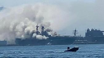 Arde buque de Armada de EU en base de San Diego tras explosión