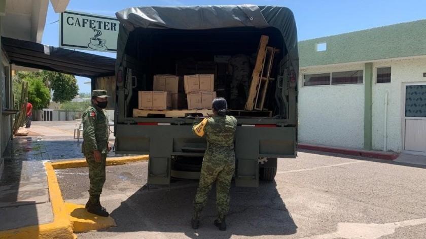 Llegan más de 3 toneladas de insumos médicos a Cuarta Zona Militar(Cortesía)