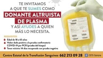 Reitera Salud Sonorallamado a donar plasmaconvaleciente de Covid-19