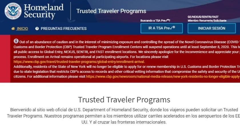 Cierre de programa Viajeros de Confianza en EU se extiende al 8 de septiembre(Cortesía)