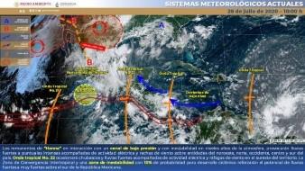 La Onda Tropical Número 22 que se ubica sobre el sur y sureste mexicano, en interacción con una zona de baja presión.