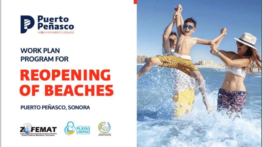 Con accesos controlados y una ocupación hotelera estimada del 40%, a partir de este sábado inicia la apertura de playas al público en Puerto Peñasco.(Especial)