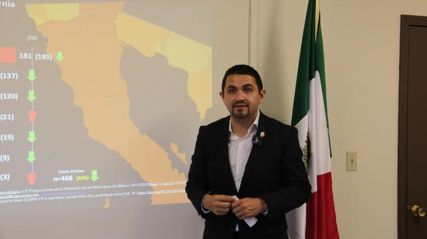 """El Secretario de Salud en el Estado, Alonso Óscar Pérez Rico, explicó que la permanencia en """"rojo"""" obedece a una medición diaria para poder actuar contra los contagios.(Cortesía)"""
