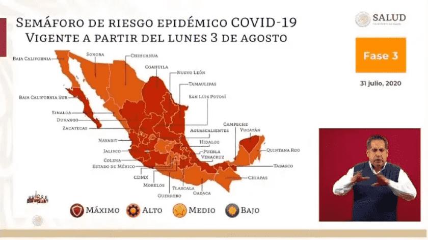 16 estados en rojo y 16 en naranja por Covid-19 en México para próxima semana