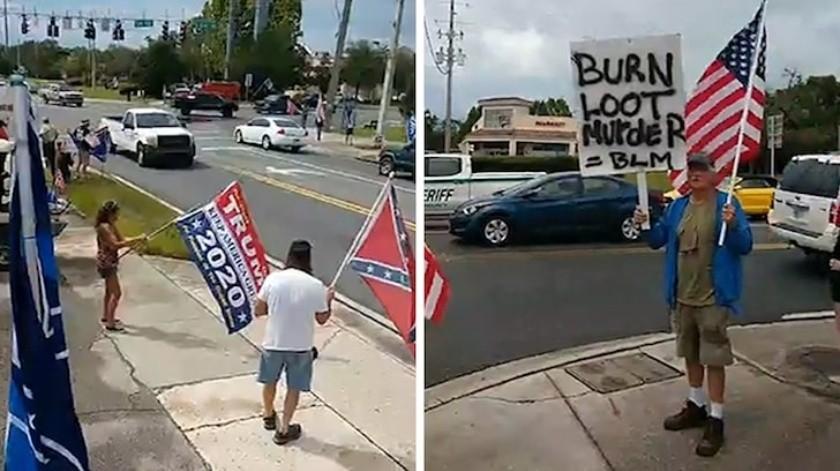 """""""¡Están atacando nuestra herencia blanca!"""": Partidarios de Trump atacan a protestantes de #BlackLivesMatter (VIDEO)(Captura de pantalla)"""