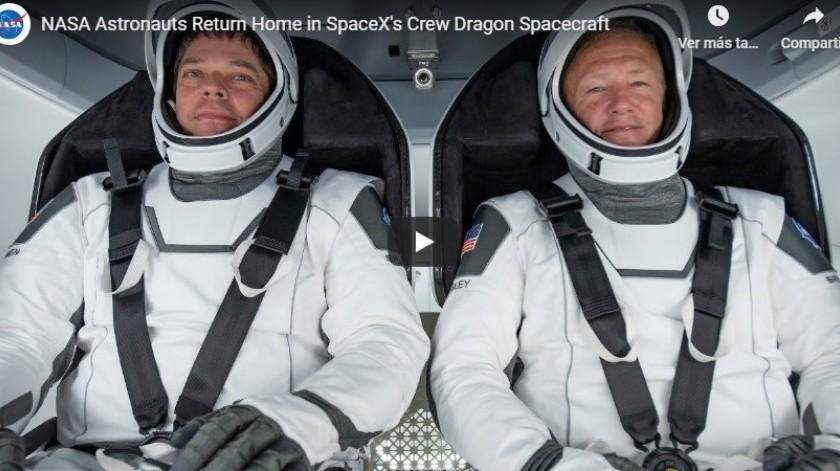 Tripulantes de la histórica misión con que SpaceX y la NASA Doug Hurley y Bob Behnken(Captura YouTube)