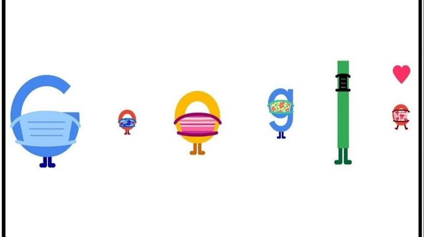 El doodle de Google te recuerda la importancia de llevar mascarilla(Tomada de la red)