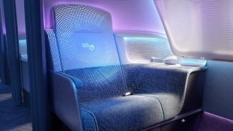 El asiento de avión que cambia de color cuando lo desinfectan