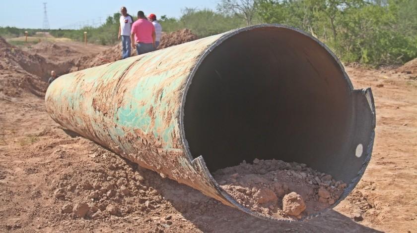 Obra del gasoducto paralizada en Loma de Bácum.(Banco Digital)