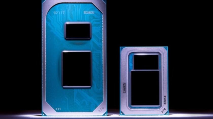 Los procesadores Tiger Lake de Intel, mostrados durante el CES 2020.(im Herman/Intel Corporation.)