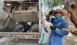 Jesús Omar Balderrama Romero es un recolector de basura en Hermosillo, todos los días trabaja