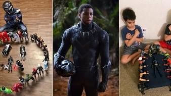 Gavyn Batiste, de 7 años, vestido como Black Panther y rodeado de figuras de acción en Lafayette, Luisiana, el actor Chadwick Boseman interpretando al rey T'Challa en