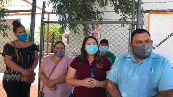 Docentes del Colegio de Bachilleres de la extensión Plantel Dos de Nogales se manifestaron ayer.