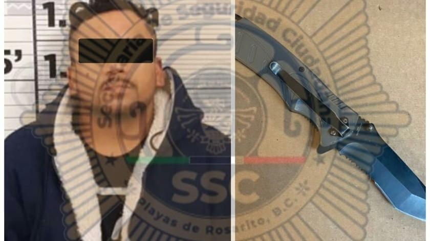 Al momento de su detención, el hombre de 34 años tenía en su poder una navaja.(Cortesía)