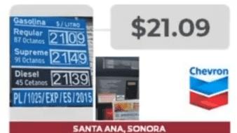 Una gasolinera de Santa Ana, Sonora, tiene el segundo lugar de precios más elevados a nivel nacional para gasolina regular.