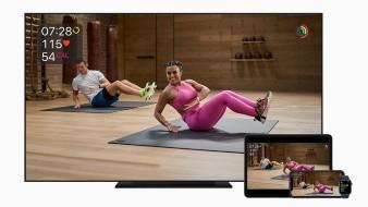 Las métricas cobran vida en la pantalla como motivación durante los entrenamientos de Apple Fitness.