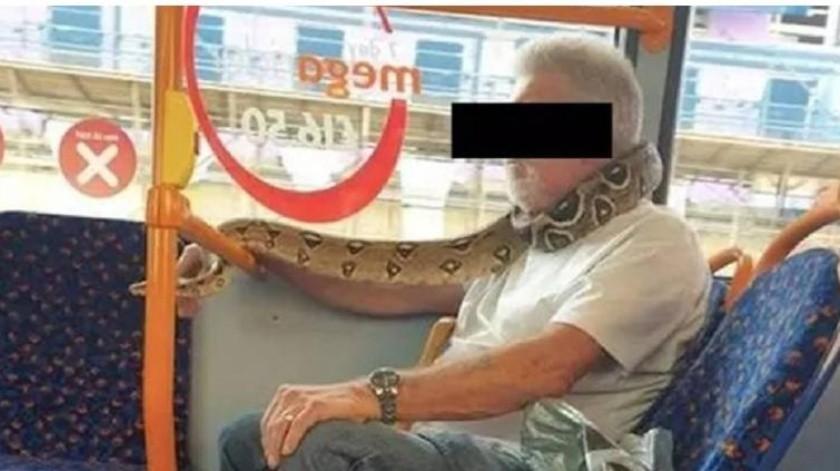 Hombre usa como bufanda a  una serpiente(Tomado de la red)