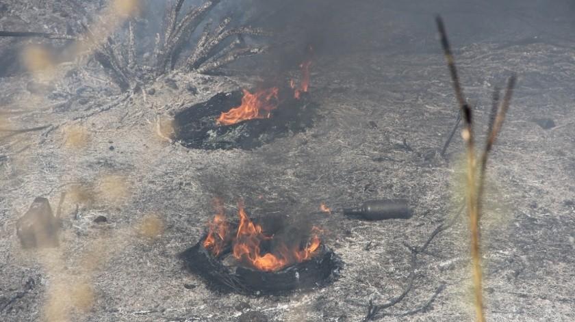 Tres lesionados en incendio de Valle de las Palmas(Margarito Martínez)