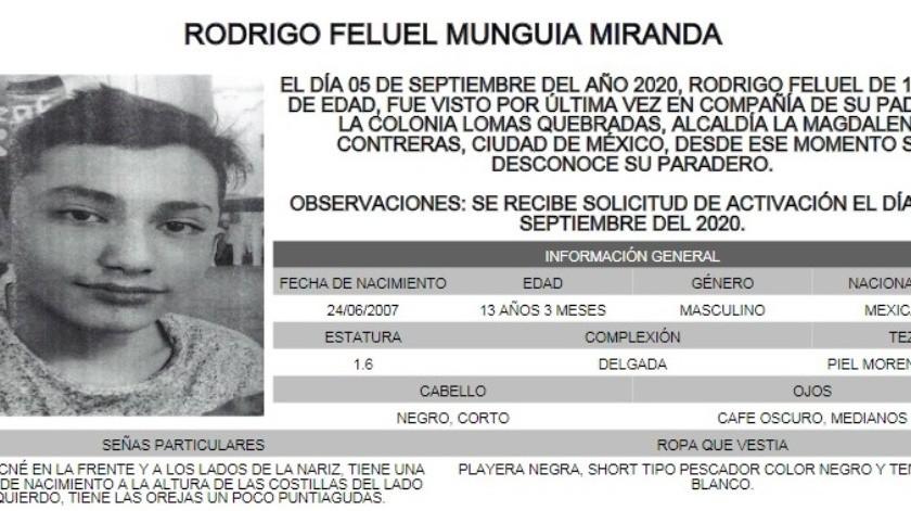 Rodrigo Feluel es de complexión delgada, piel morena clara, mide 1.60 metros de estatura, tiene ojos medianos, color café oscuro y cabello corto y lacio.(Alerta Amber)