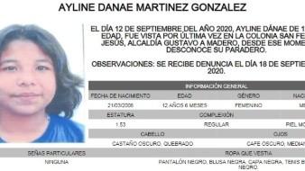 Las características físicas de Ayline Danae son: Complexión regular, piel morena clara, mide 1.53 metros de estatura, ojos medianos, color café oscuro; y cabello quebrado, color castaño oscuro.