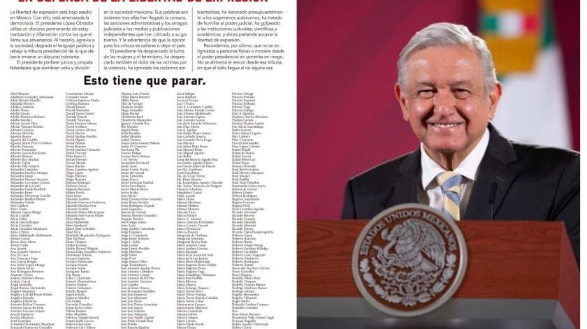 """Los más de 650 firmantes -muchos crtíticos desde siempre de AMLO-manifiestan que hoy en México la libertad de expresión está bajo asedio y que con ello """"está amenazada la democracia""""."""