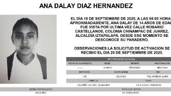 Ana Dalay es de piel morena clara, complexión delgada, mide 1.52 metros de estatura, ojos medianos, color café claro y el cabello quebrado, color castaño oscuro; y se desconoce su vestimenta.