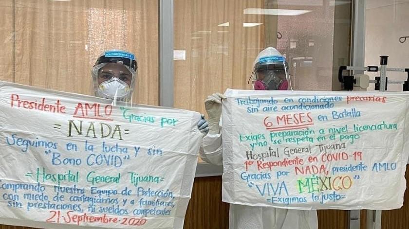 Trabajan bajo protesta empleados del Hospital General de Tijuana(Tomada de redes sociales)