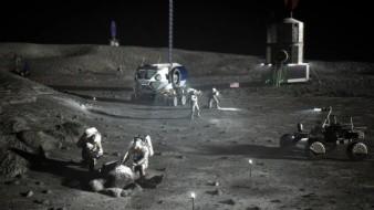 Interpretación artística de un campamento base de Artemis cerca del polo sur lunar.