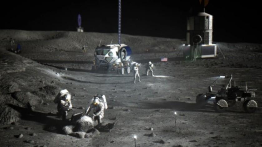 Interpretación artística de un campamento base de Artemis cerca del polo sur lunar.(NASA)