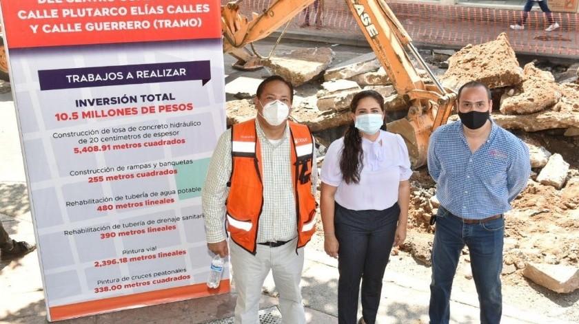 La alcaldesa Célida López Cárdenas dio el banderazo para el arranque de la rehabilitación con concreto hidráulico en el Centro de la ciudad.(EL IMPARCIAL)