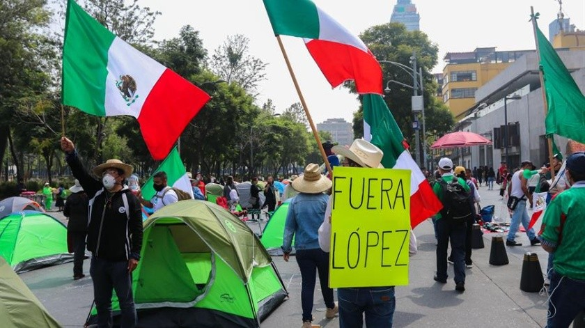Desde el pasado sábado, los integrantes del grupo pretendían llegar hasta el Zócalo capitalino para exigir la renuncia del presidente Andrés Manuel López Obrador(EFE)