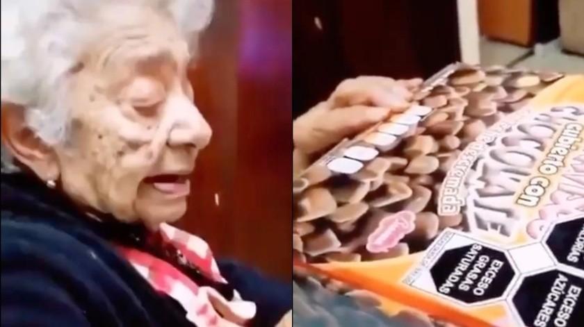 Su abuela reacciona a sellos de Salud en alimentos y se hace viral(Captura de pantalla)