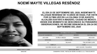 Las características físicas de Noemí Mayte son: Piel morena clara, complexión delgada, mide 1.50 metros de altura, su cabello lacio, color castaño oscuro; y sus ojos son pequeños, color café oscuro.