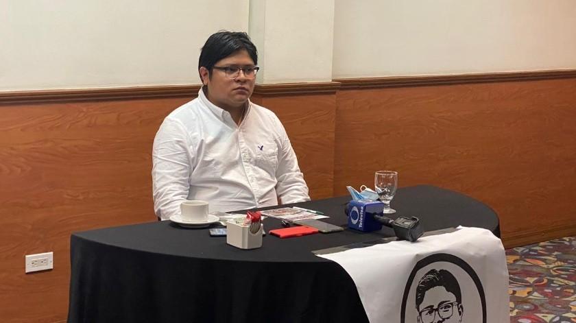 Gibrán Ramírez Reyes, candidato a la presidencia de Morena estuvo en Tijuana.(Glenn Sanchez)