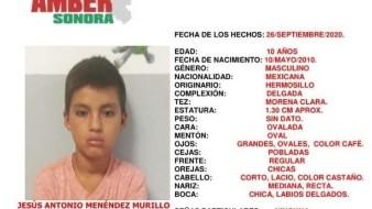 Se activa Alerta Amber para encontrar a Jesús Antonio; desapareció en Hermosillo