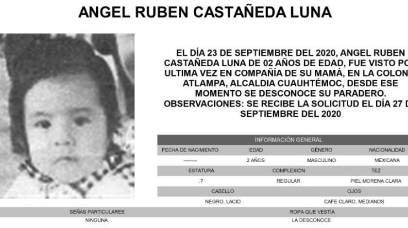 Ángel Rubén es de piel morena clara, complexión regular, mide 70 centímetros de estatura, tiene el cabello lacio, color negro; y los ojos medianos, color café claro.(Alerta Amber)