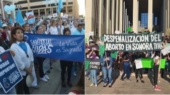 Marchas pro vida y Manifestaciones por la despenalización del aborto.