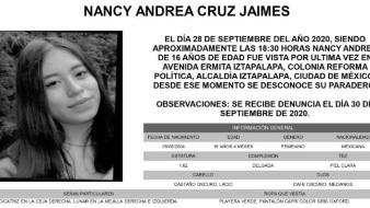 Nancy Andrea vestía playera verde, pantalón capri, color gris, y tiene una cicatriz en la ceja derecha, así como un lugar en cada mejilla, tanto en la derecha como la izquierda.