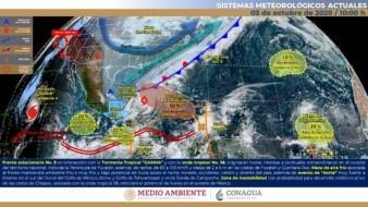 La masa de aire que impulsa al Frente Frío Número 5 mantendrá evento de Norte con rachas de viento de 70 a 80 km/h en el Istmo de Tehuantepec.