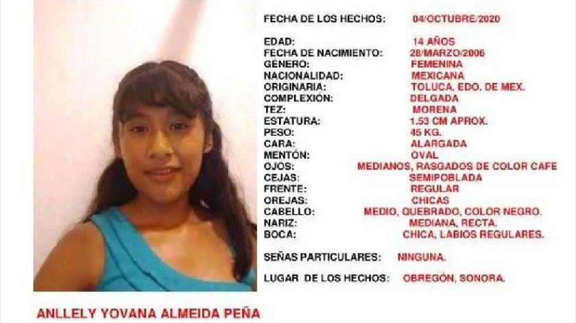 Activan Alerta Amber por Anllely Almeida, desapareció en Ciudad Obregón(Especial)