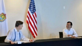 Embajador Christopher Landau y Cuitláhuac García, gobernador de Veracruz sostienen encuentro