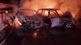 Chocan autos y se incendian sobre carretera a SLRC