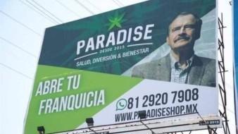 La imagen del ex presidente Vicente Fox es usada para promocionar productos elaborados con marihuana