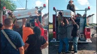 Gustosos, bomberos cumplen último deseo de niño que murió por leucemia